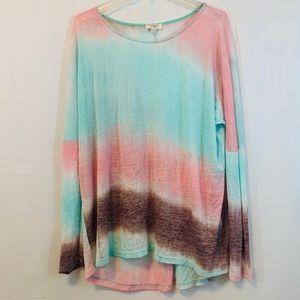 Umgee Tie Dye Burnout Long Sleeve Top